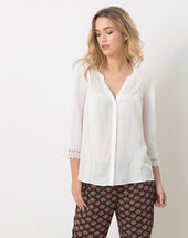 Emma ecru blouse with lace ecru.