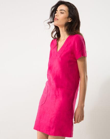 Bisou fuchsia linen dress (3) - 1-2-3