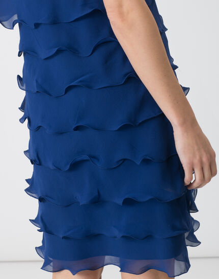 Flower royal blue flouncy silk dress (5) - 1-2-3