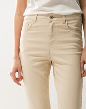Oliver beige shiny coated 7/8 length trousers beige.