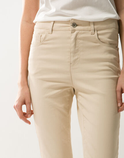 Oliver beige shiny coated 7/8 length trousers (1) - 1-2-3