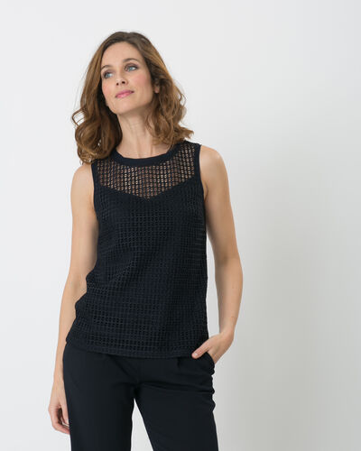 Nadia navy blue sleeveless top with lace (1) - 1-2-3