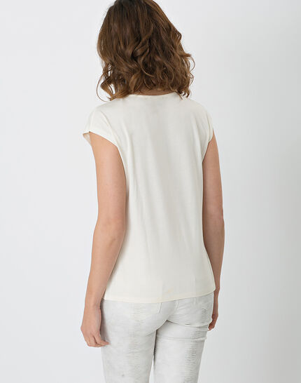 Natte pale yellow shiny T-shirt with braided neckline (3) - 1-2-3