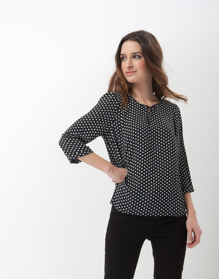 Astrid navy blue polka dot blouse PhotoZ | 1-2-3
