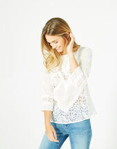 Elora ecru embroidered shirt ecru.