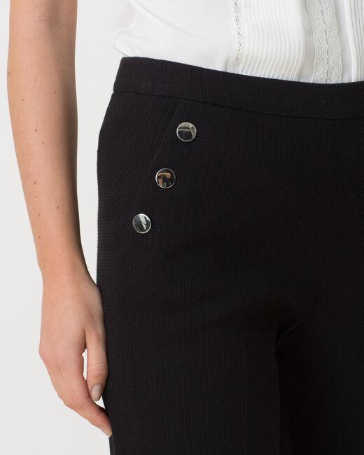 Pantalon noir fluide matière piquée Rafia (1) - 1-2-3