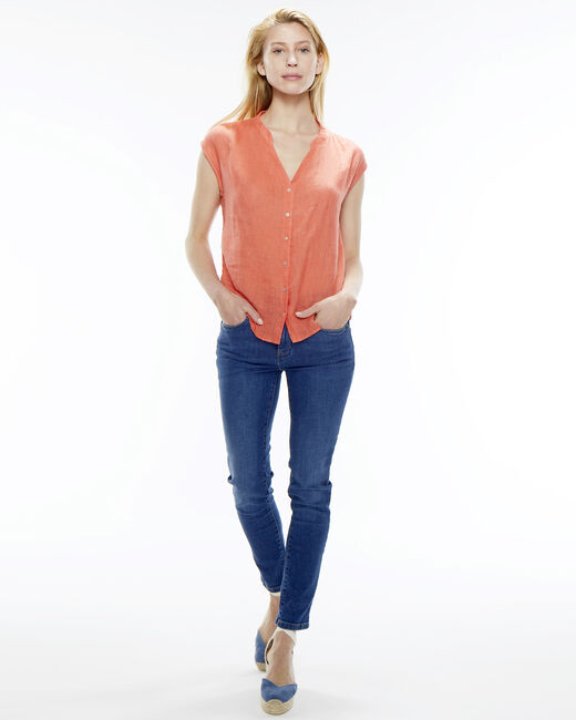 Fiona orange linen blouse (2) - 1-2-3