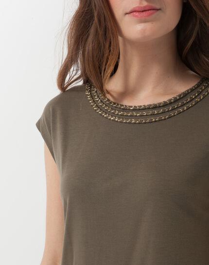 Natte khaki T-shirt with braided collar (5) - 1-2-3