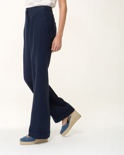 Roller navy blue linen wide-cut trousers (2) - 1-2-3