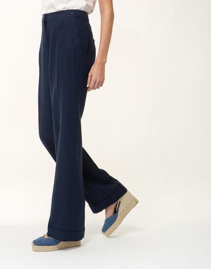 Pantalon large bleu marine en lin Roller PhotoZ   1-2-3