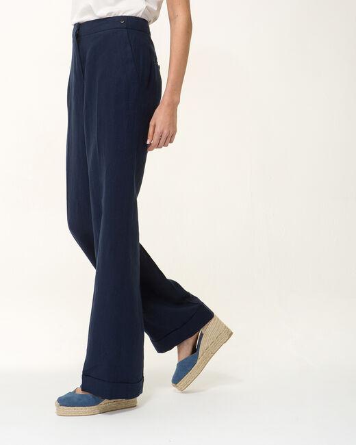 Pantalon large bleu marine en lin Roller (1) - 1-2-3