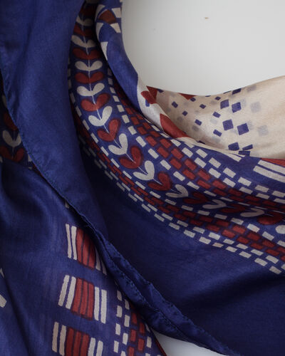 Speranza blue silk printed scarf (2) - 1-2-3