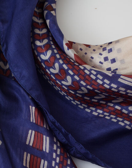 Speranza blue silk printed scarf PhotoZ | 1-2-3