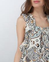 Ebahi floral printed top with frilly sleeves sage.