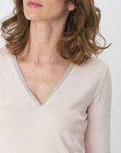 Pale pink t-shirt with diamanté neckline powder.