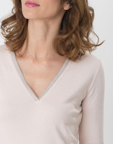 Pale pink T-Shirt with diamanté neckline (2) - 1-2-3