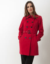 Kate ruby trench dark red.
