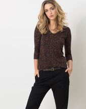 Nisanne animal print t-shirt brown.