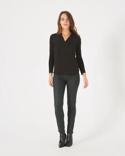 Leden black dual-fabric T-shirt (1) - 1-2-3