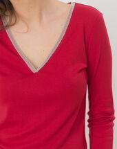 Neck raspberry t-shirt with diamanté neckline dark red.