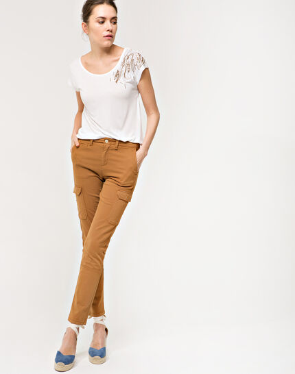 Damien 7/8 length camel trousers with large combat-style pockets (2) - 1-2-3