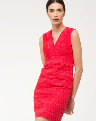 Fragola coral guipure lace dress (2) - 1-2-3