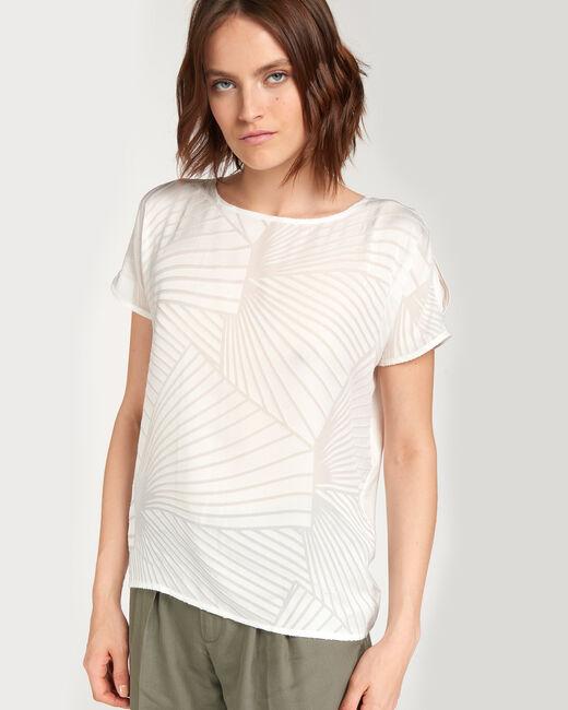 Nanako ecru T-shirt with geometric print (1) - 1-2-3