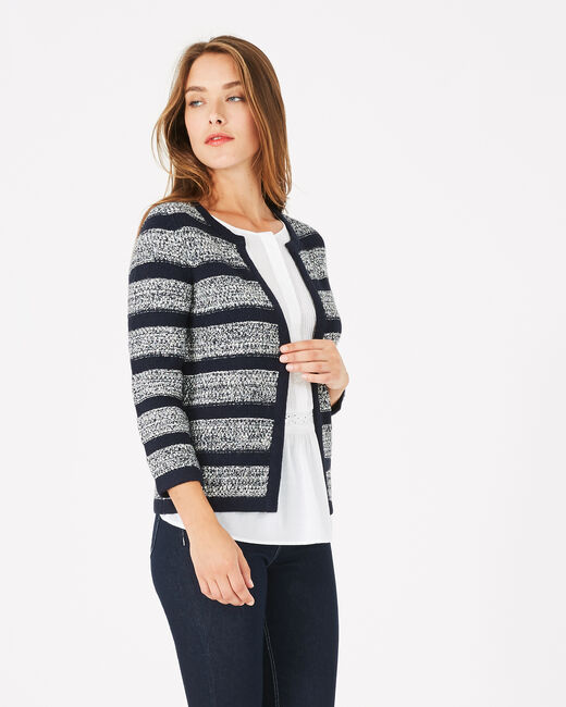 Marineblaue Strickjacke Paparazzi (1) - 1-2-3