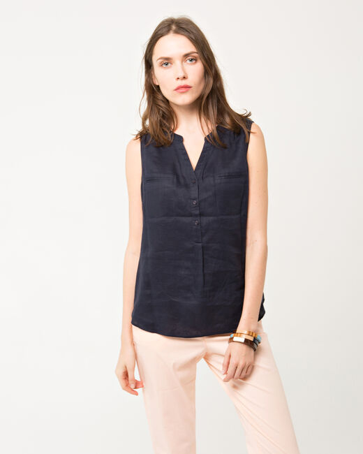 Elise navy linen sleeveless blouse (1) - 1-2-3