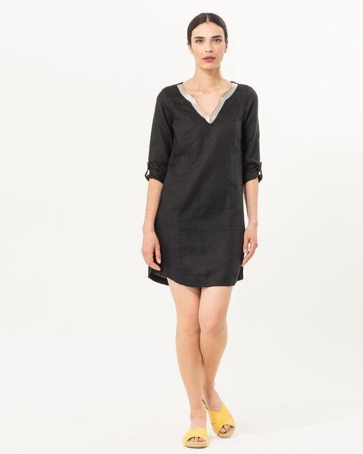 Robe noire en lin Blanche (1) - 1-2-3
