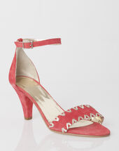 Joyce open toe coral court shoes coral.