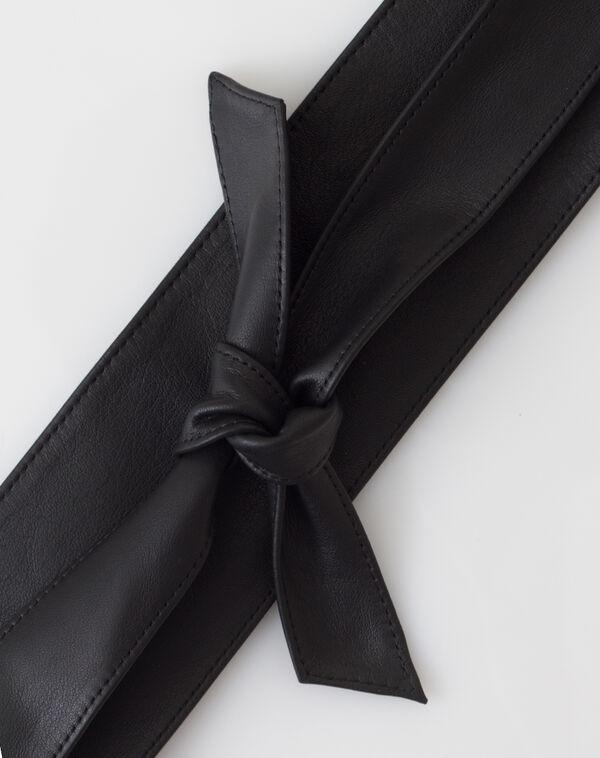 Ceinture large noire en cuir odile à