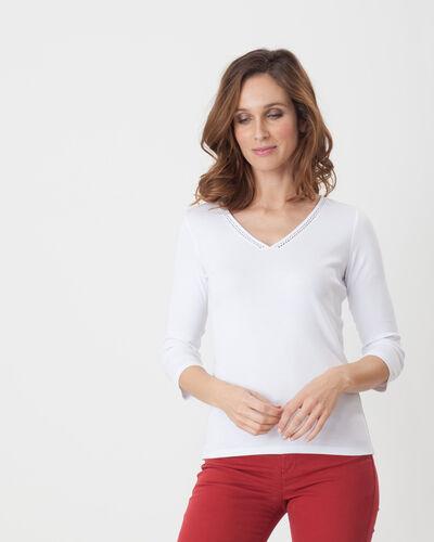 Noria white T-Shirt with embroidered neckline (1) - 1-2-3