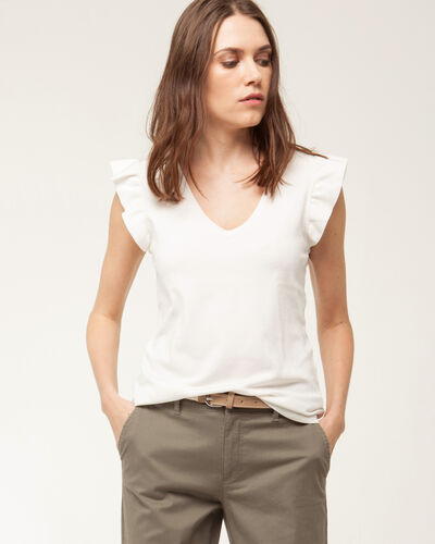 Hole ecru sweater with frilled short sleeves (1) - 1-2-3