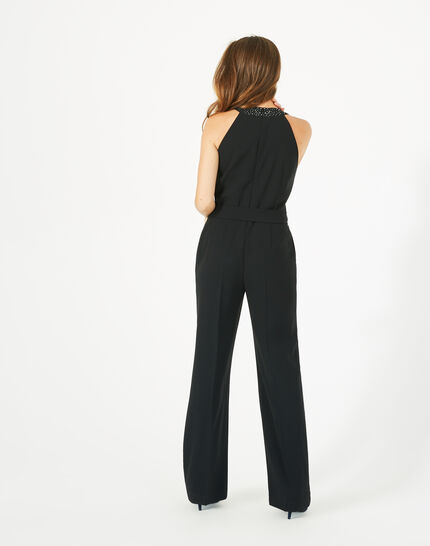 Carly black jumpsuit with Swarovski-embellished neckline (5) - 1-2-3