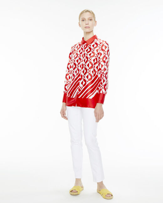 Ermine striking red print blouse (2) - 1-2-3