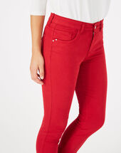 Oliver 7/8 length raspberry trousers dark red.