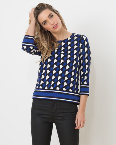 Tee-shirt bleu imprimé Losange (1) - 1-2-3