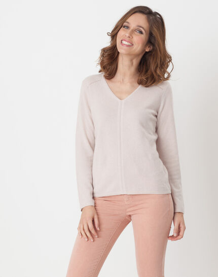 Heart powder pink cashmere sweater PhotoZ | 1-2-3