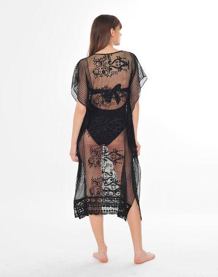 Sophie short black lace kaftan for the beach (3) - 1-2-3