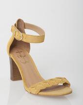 Sandales jaunes en cuir jade jaune pale.