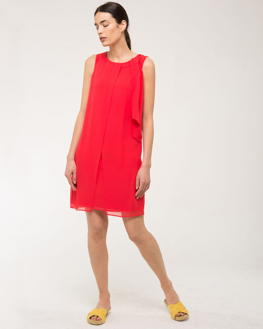 Fanny orange dress in silk with bow on the shoulder (1) - 1-2-3