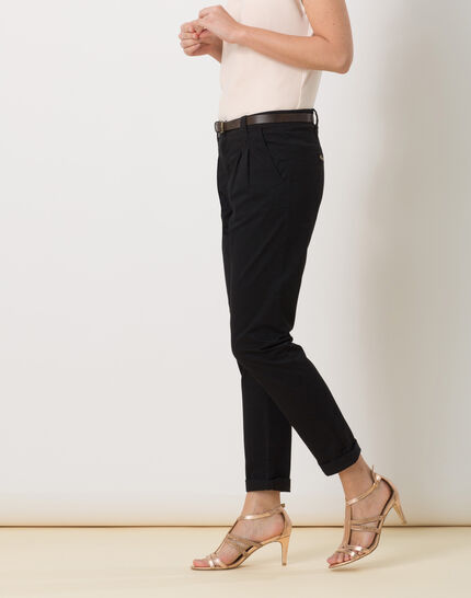 Diane black 7/8 length tapered trousers with belt (3) - 1-2-3