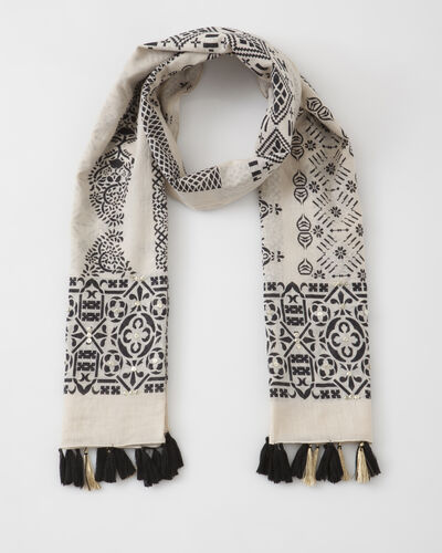 Foulard noir et blanc imprimé Sana (1) - 1-2-3