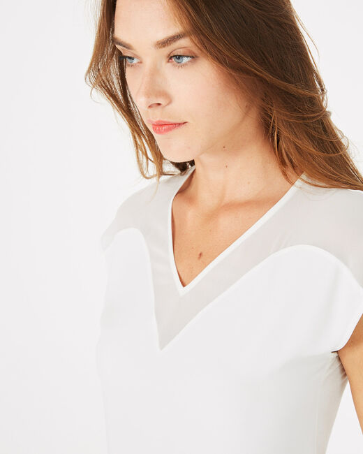 Beryl pale ecru dual-fabric T-shirt (2) - 1-2-3