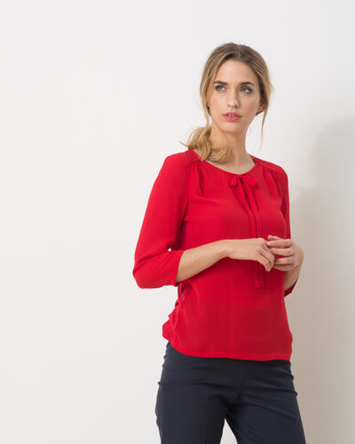 Lipstick red T-Shirt with bow neckline (1) - 1-2-3