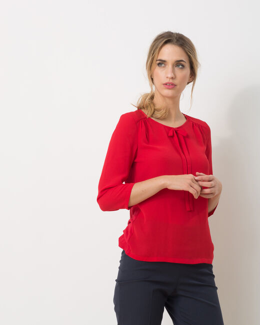 Tee-shirt rouge col noeud Lipstick (2) - 1-2-3