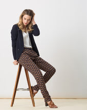 Domy flowing printed trousers navy.