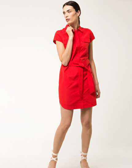 Bogota red cotton shirt-dress (2) - 1-2-3