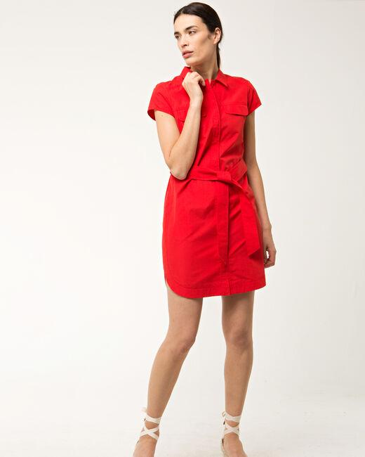 Robe chemisier rouge en coton Bogota (1) - 1-2-3